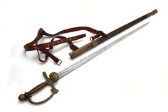 Sword (rapier) of Austria-Hungary railway official Stock Images
