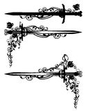 Sword among rose flowers Royalty Free Stock Photo