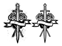 Sword And Roses Royalty Free Stock Photos