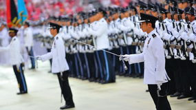 Sword salute during NDP 2010 Royalty Free Stock Photo