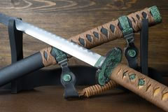 Sword of the samurai. Medieval Japanese weapons.  Royalty Free Stock Photo