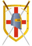 Sword and Shield. Two knights of the sword and helmet knight against knight crusader shield Stock Photos