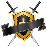 Sword & Shield Banner Royalty Free Stock Images