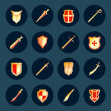 Sword and shield icons set Royalty Free Stock Photography