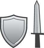 Sword and Shield Isolated Royalty Free Stock Photography