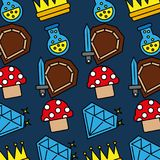 Sword shield mushroom crown potion video game pattern. Vector illustration Royalty Free Stock Photography