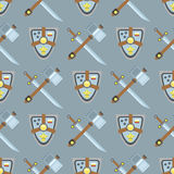 Sword and shield seamless pattern protection design knight background medieval weapon vector illustration. Sword and shield on seamless pattern protection design Stock Photo