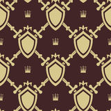Sword and shield seamless pattern. War symbol, battle and weapon, vector illustration Royalty Free Stock Photography