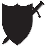 Sword and Shield Silhouette Royalty Free Stock Photography