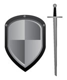 Sword and shield. Vector illustration of sword and shield. Eps format 10 is available Stock Photo
