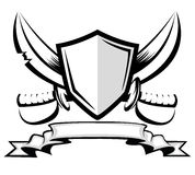 Sword and shield. Vintage badge Royalty Free Stock Photography