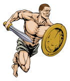 Sword and shield warrior. An illustration of a warrior or gladiator man character or sports mascot holding a sword and shield Royalty Free Stock Images
