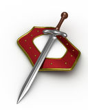 Sword and shield on white background Royalty Free Stock Images