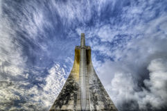 The sword in the sky. Back of the monument to Vasco da Gama in Lisbon Royalty Free Stock Images