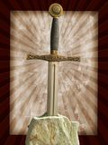 Sword in the stone. Medieval sword hammered in a stone grunge background Stock Photography