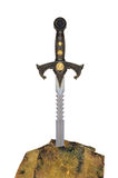 Sword in the stone. Fantasy sword hammered in a stone on white background royalty free stock images