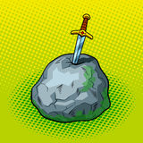 Sword in stone comic book style vector Stock Photos