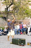 The sword swallower. Medieval reenactment at the castle of Pozzolo Formigaro, Italy. September 2008 Stock Photos