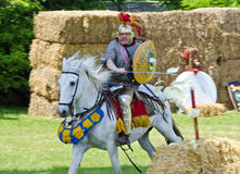 Sword thrust of roman mounted soldier. Of the group  Ala Prima Thracumvictrix at a training target, Roman festival 2014, Carnuntum, Austria Royalty Free Stock Photography