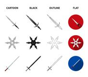 Sword, two-handed sword, gas balloon, shuriken. Weapons set collection icons in cartoon,black,outline,flat style vector royalty free illustration