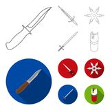 Sword, two-handed sword, gas balloon, shuriken. Weapons set collection icons in outline,flat style vector symbol stock stock illustration