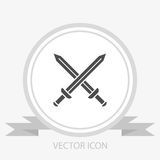 Sword vector icon. On grey background royalty free illustration