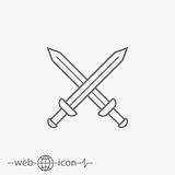Sword vector icon. On white background Royalty Free Stock Images