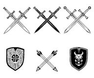 Sword weapon shield arrow viking set. Black and white Stock Images