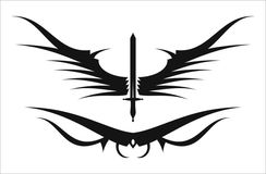 Sword and wing. Winged sword in black and white Royalty Free Stock Image