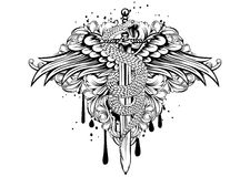 Sword wings snake patterns Stock Image