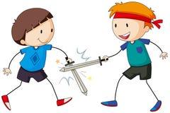 Swordfighting. Two boy playing swordfighting together Stock Photos