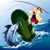 Swordfish attack. Funny illustration with scared unlucky fisherman jumping out of boat under attack of the huge swordfish Royalty Free Stock Images