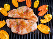 Swordfish on the grill with peppers Stock Images