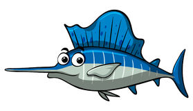 Swordfish with happy face. Illustration Stock Photos