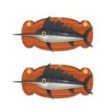 Swordfish na drewnianej desce Obraz Stock