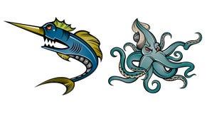Swordfish and octopus Stock Photo