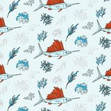 Swordfish and seaweed contrast textile print. Vector underwater life pattern. Oceam plants and fish elements. Deep water Stock Images