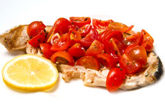 Swordfish with tomatoes Stock Images