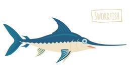 Swordfish, vector cartoon illustration Stock Photo