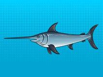 Swordfish wystrzału sztuki wektoru ilustracja Obrazy Royalty Free