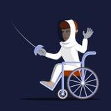 Swordman disabile in sedia a rotelle che tiene una rapière Immagine Stock