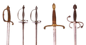 Swords. Series of swords, rapiers and sabres, isolated on background Royalty Free Stock Images