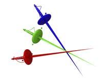 Swords. Three swords red green blue. 3d vector illustration