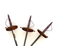 Swords. Three swords. 3d fighting, weapon Stock Photos