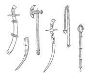 Swords, ax and mace. Set of ancient weapons Stock Illustration