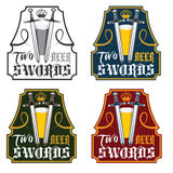 Swords beer vintage labels set. Two swords beer vintage labels set Stock Photography