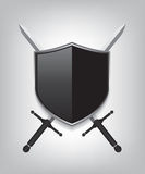 Swords and black shield Stock Photography