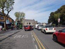 Swords castle. And street in Ireland stock photo