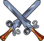 Swords cross. Vector illustration two metal swords cross on white Royalty Free Stock Photography