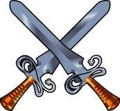Swords cross. Vector illustration two metal swords cross on white vector illustration